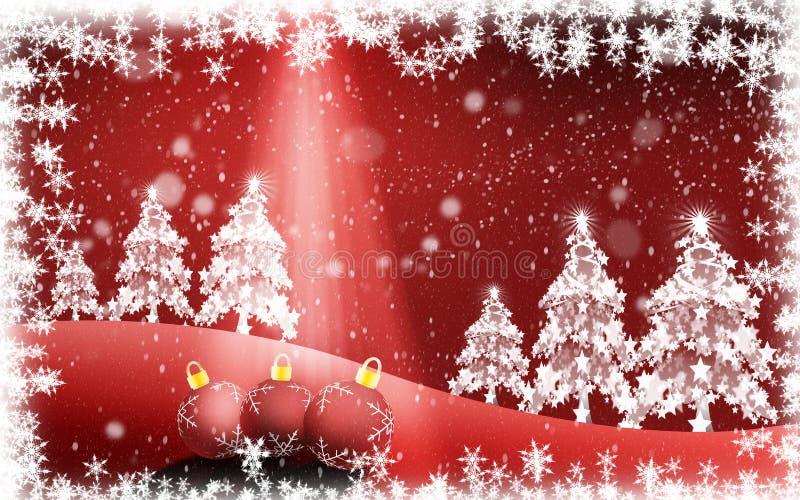 De Kerstboom en het licht die uit de hemel komen vector illustratie