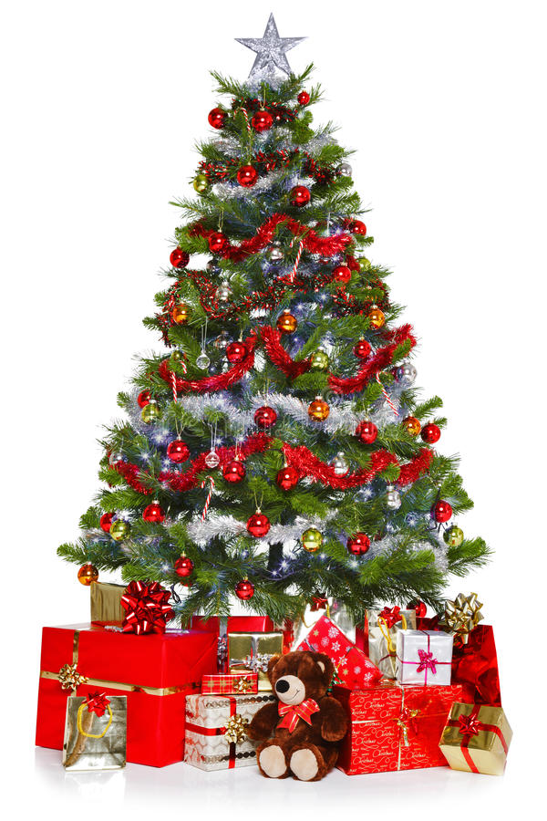 De kerstboom en stelt geïsoleerdn op wit voor royalty-vrije stock afbeeldingen