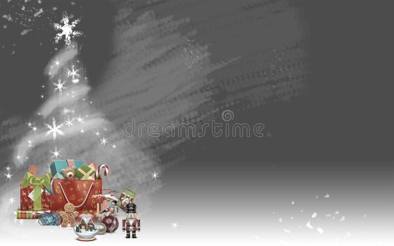De kerstboom maakte van sterren en kleurde giften (grijze achtergrond) royalty-vrije illustratie