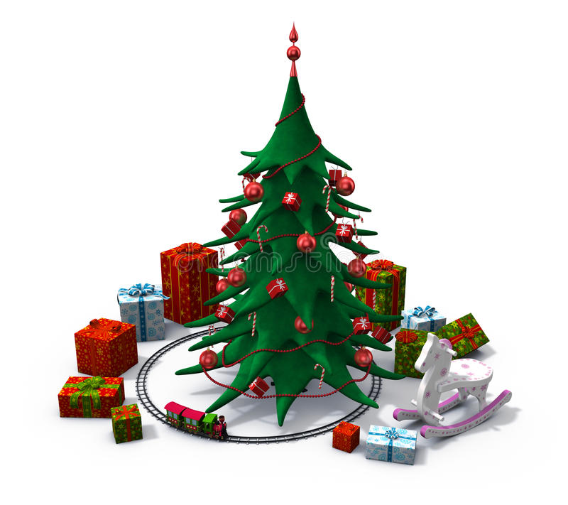 De kerstboom met stelt en speelgoed voor stock illustratie