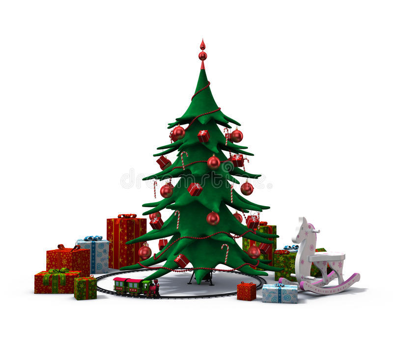 De kerstboom met stelt en speelgoed voor royalty-vrije illustratie