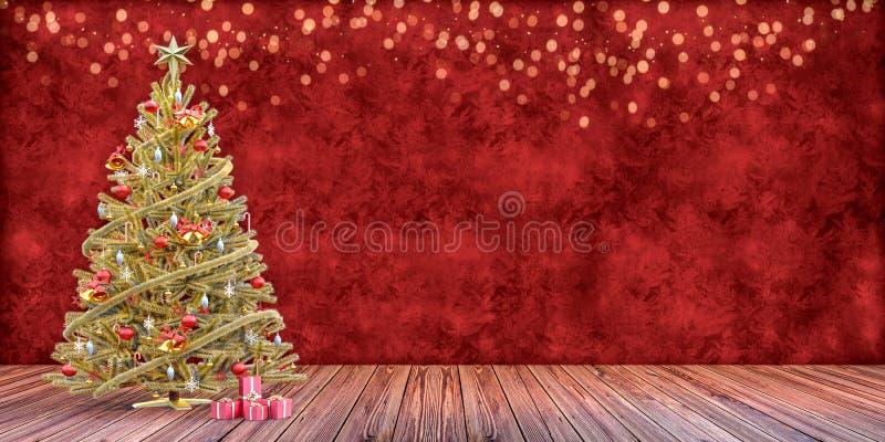 De kerstboom met stelt, het malplaatje van de giftkaart voor stock fotografie