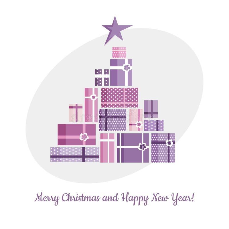De kerstboom met ster van gekleurd wordt gemaakt stelt en giften die voor Vlak leg Het concept van de vakantie vector illustratie