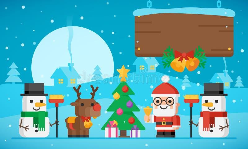 De Kerstboom Santa Claus Reindeer en S van de Kerstmisillustratie vector illustratie