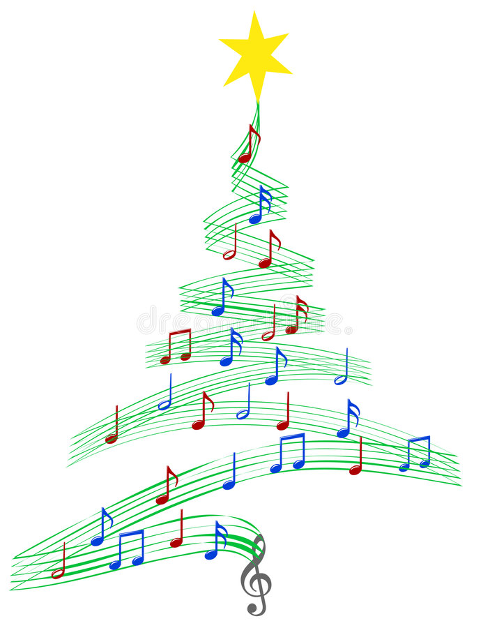 De Kerstboom van Carol Music vector illustratie