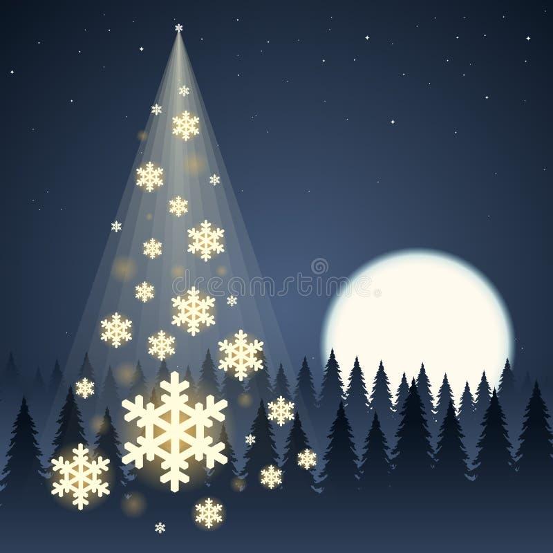 De Kerstboom van de maansneeuwvlok royalty-vrije illustratie
