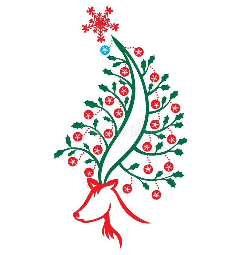 De Kerstboom van het rendier royalty-vrije illustratie