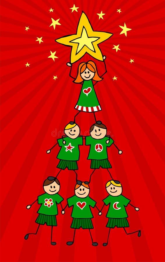 Download De Kerstboom Van Jonge Geitjes Vector Illustratie - Illustratie bestaande uit gelukkig, sterren: 10775342