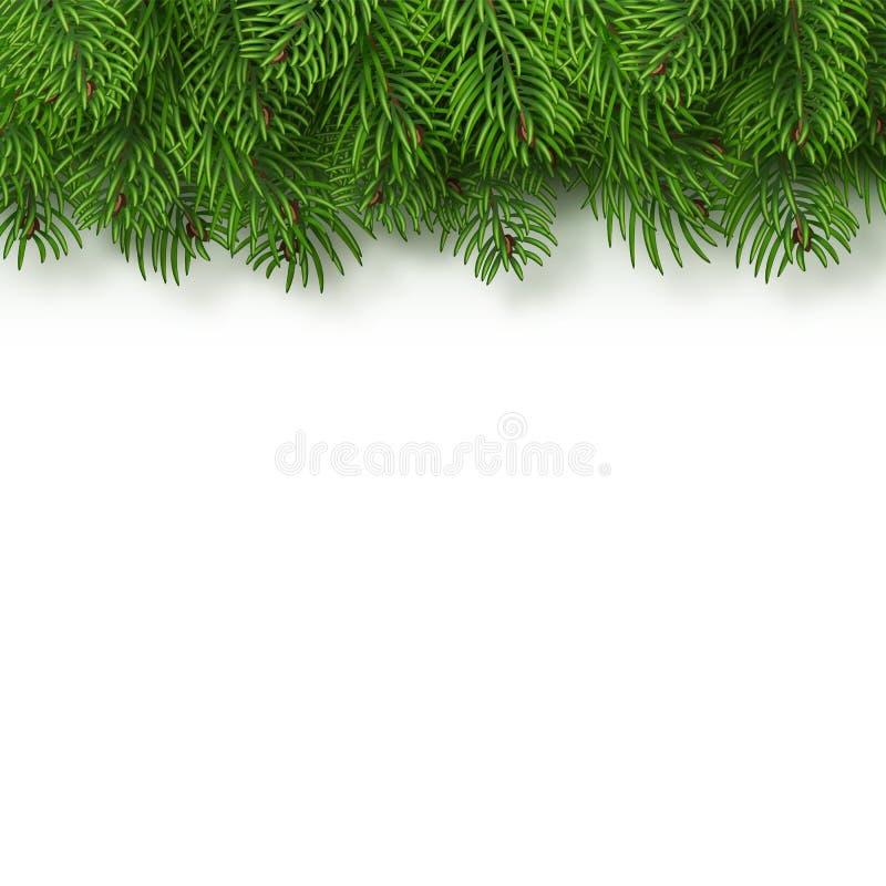 De kerstboom vertakt zich achtergrond Kerstmis en Nieuwjaardecor Realistische vectordieillustratie op a wordt geïsoleerd stock illustratie