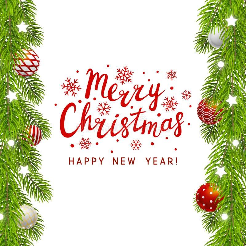De kerstboom vertakt zich Grens vector illustratie