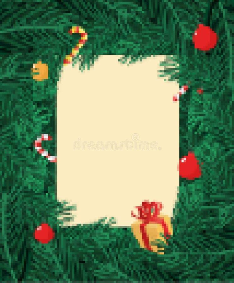 De kerstboom vertakt zich het art. van het Kaderpixel Kerstmis Achtergrondtak vector illustratie