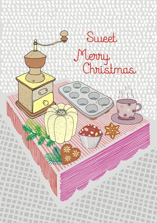 De kerstkaart, de lijst met peperkoek, de molen, en de vormen, Vrolijke Kerstmis wensen dit stock illustratie