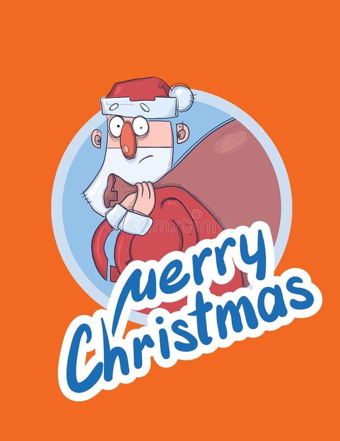 De kerstkaart met grappige Santa Claus die grote zak dragen van stelt voor De kerstman kijkt verbijsterd en verward het van lette vector illustratie