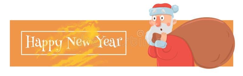 De kerstkaart met grappige Santa Claus die grote zak dragen van stelt voor Santa Claus kijkt verbijsterd en verward Kerstmis vector illustratie