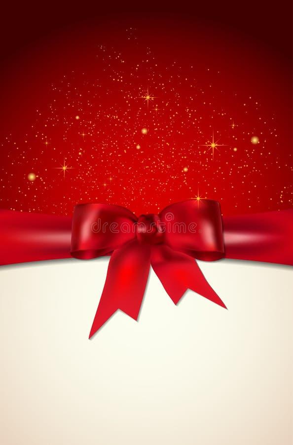 De kerstkaart met rode boog, de glanzende sterren en de plaats voor uw knoeien vector illustratie