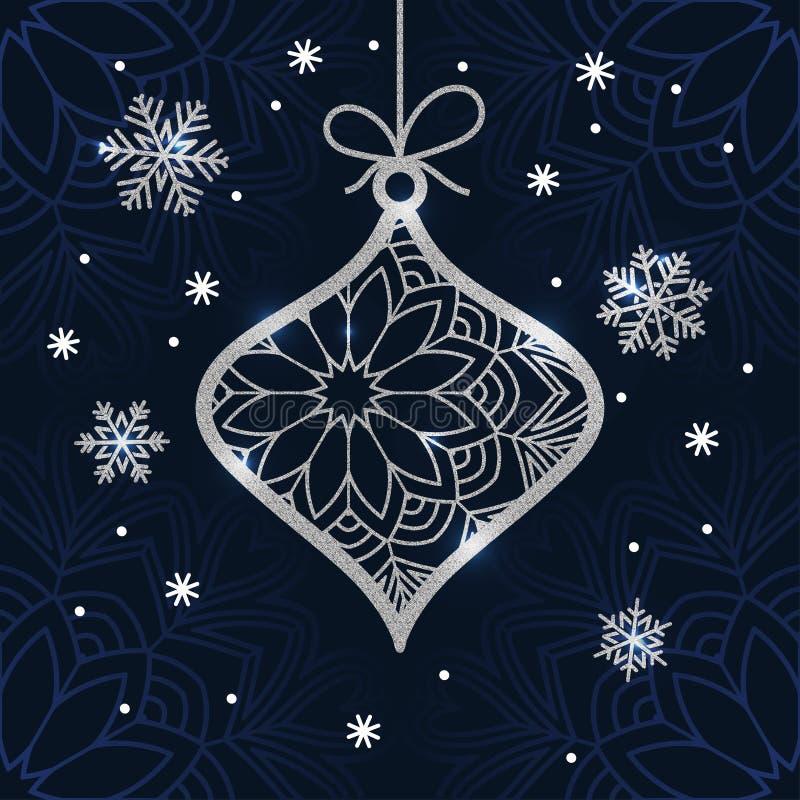 De kerstkaart met zilver schittert snuisterij en sneeuwvlokken vector illustratie