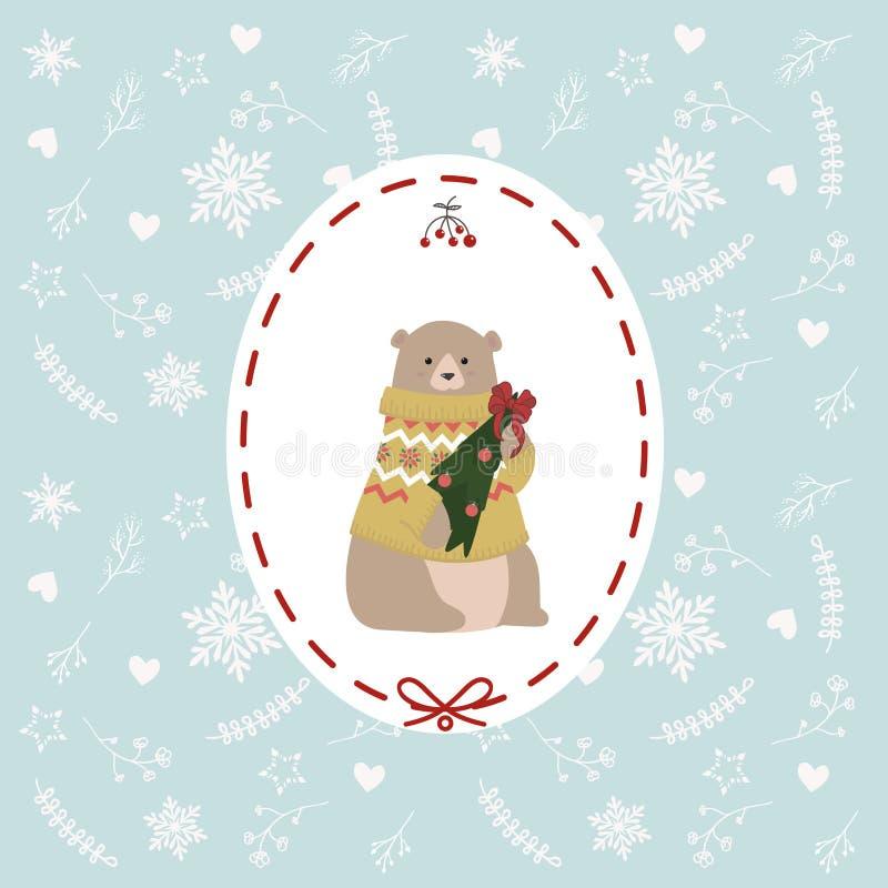 De kerstkaart met zoet beeldverhaal draagt in boom van het het getijden de nieuwe jaar van de sweaterholding royalty-vrije illustratie