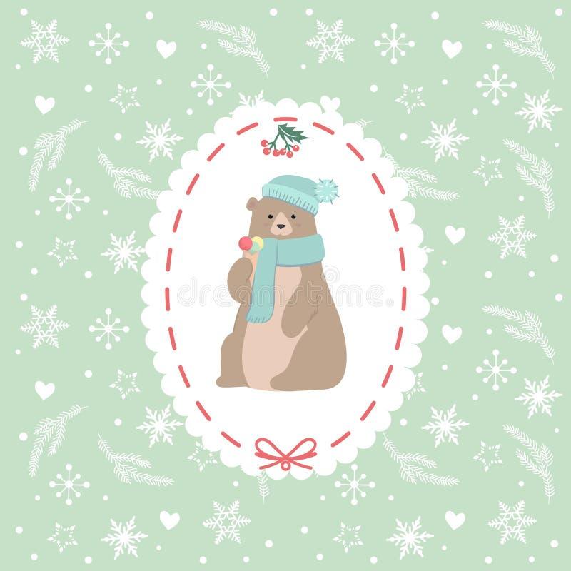 De kerstkaart met zoet beeldverhaal draagt in hoed en sjaalholdingsroomijs royalty-vrije illustratie