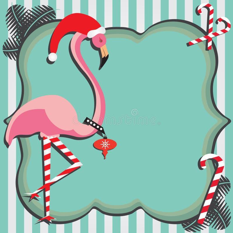 De Kerstkaart van de flamingo royalty-vrije illustratie