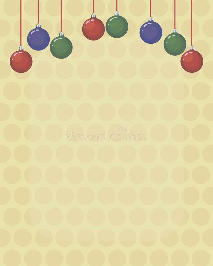 De kerstkaartachtergrond met de gekleurde rode, groene en blauwe ballen van de glaskerstboom op rood snakt draden op lichtgeel royalty-vrije illustratie
