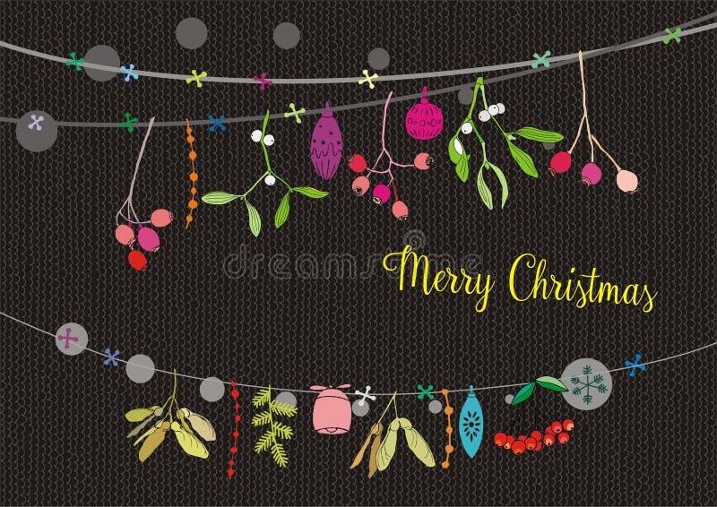 De kerstkaarten, de Kerstmisslingers, het takje, de kruiken en de ornamenten, Vrolijke Kerstmis wensen dit stock illustratie