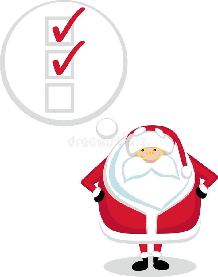 De kerstman aan-maakt van een lijst stock illustratie