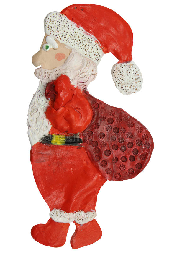 De Kerstman _2 Ambachten van klei Children& x27; s creativiteit Witte achtergrond stock foto