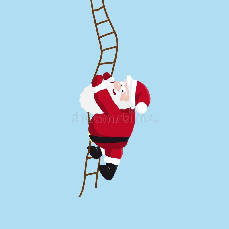 De kerstman beklimt de ladder stock illustratie