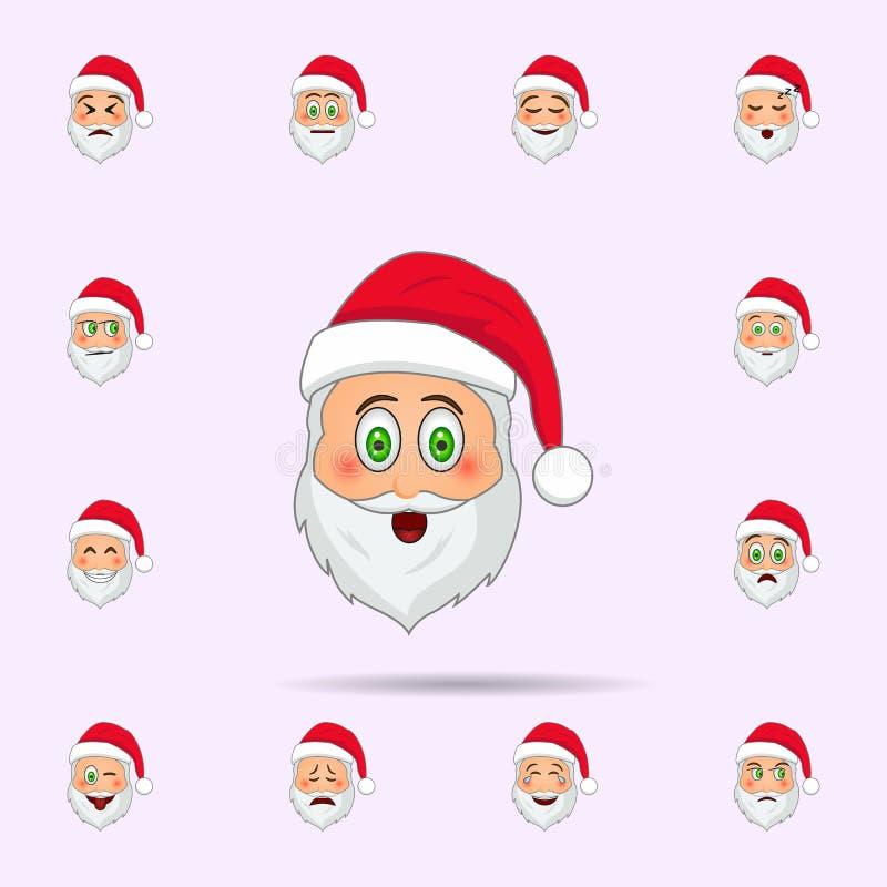 De Kerstman in betrokken over emojipictogram Dat voor Web wordt geplaatst en mobiel de pictogrammenalgemeen begrip van de Kerstma royalty-vrije illustratie