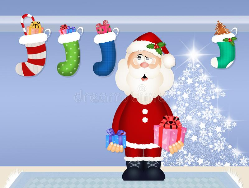 De Kerstman brengt giften stock illustratie