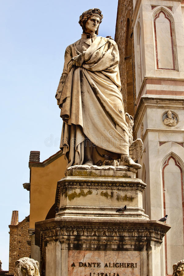 De Kerstman Croce Florence Italië van de Basiliek van het Standbeeld van Dante royalty-vrije stock afbeeldingen