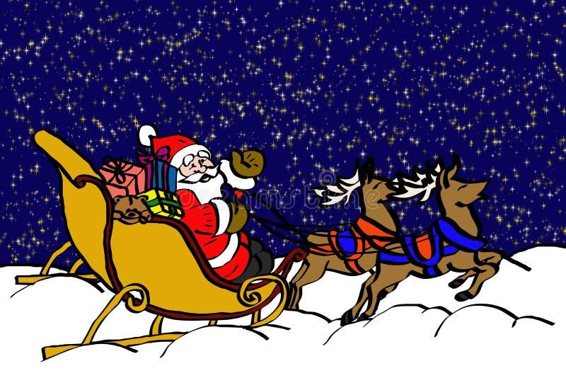 De Kerstman in de nacht vector illustratie