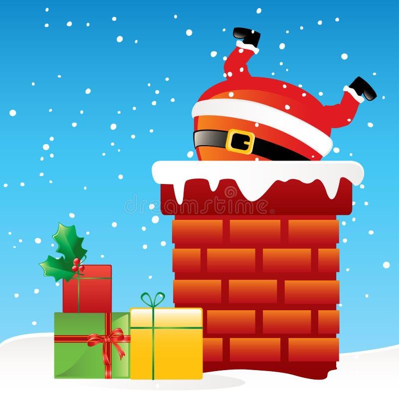 De Kerstman in de schoorsteen vector illustratie
