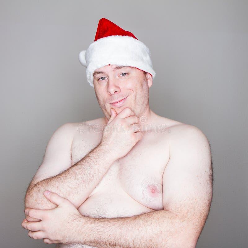 De kerstman denkt stock fotografie
