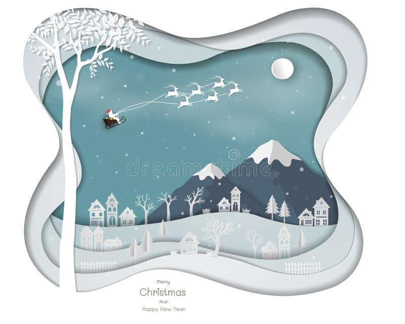 De Kerstman die boven stadsdorp vliegen op de abstracte achtergrond van de Witboekkunst royalty-vrije illustratie