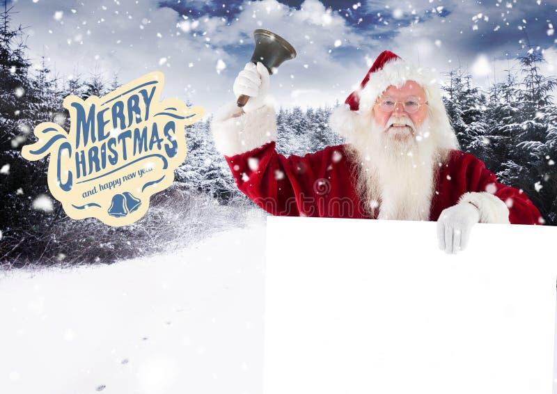 De Kerstman die een klok bellen terwijl het houden van aanplakbiljet stock fotografie
