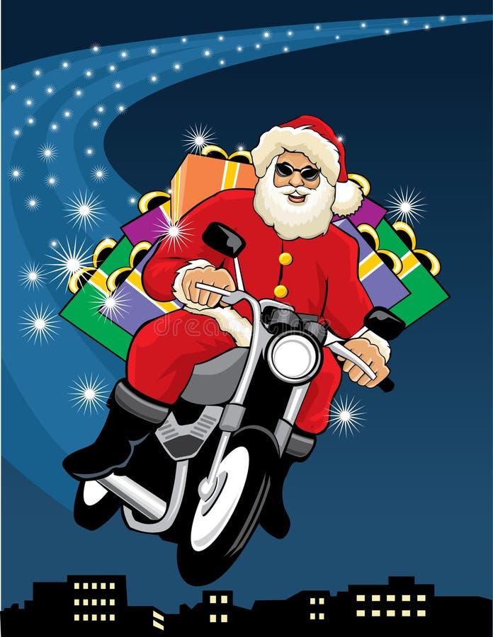 De Kerstman die een motorfiets berijdt vector illustratie