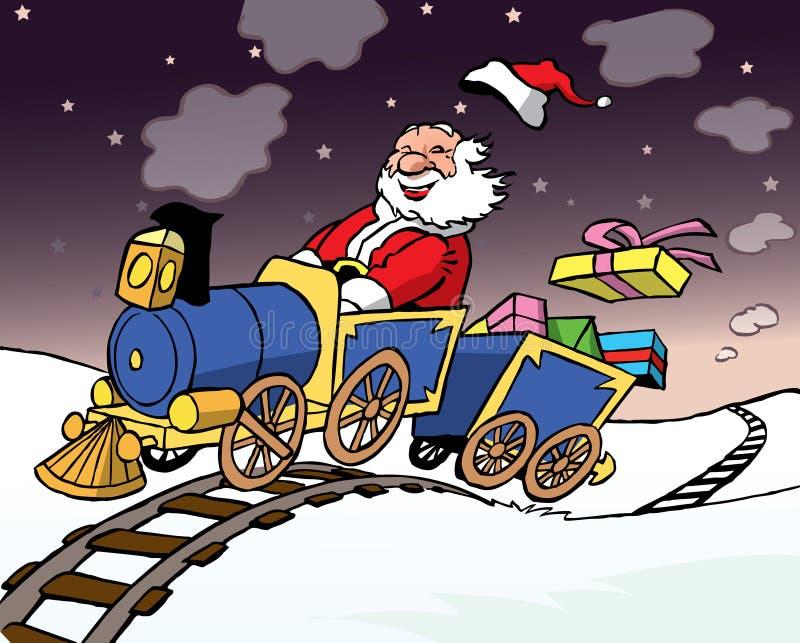 De Kerstman die een trein met giften drijft royalty-vrije stock foto's