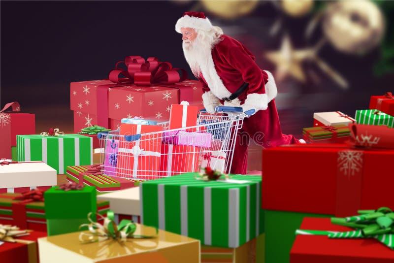 De Kerstman die giftdozen zoeken om het boodschappenwagentje in te vullen royalty-vrije stock afbeeldingen