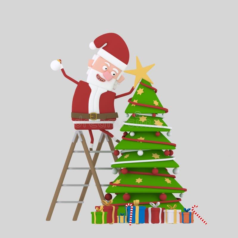 De Kerstman die Kerstboom verfraait 3d stock illustratie