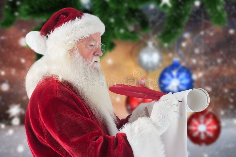 De Kerstman die met een schacht schrijven royalty-vrije stock afbeeldingen