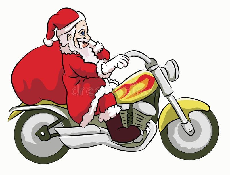 De Kerstman die motorfiets bevrijden royalty-vrije illustratie