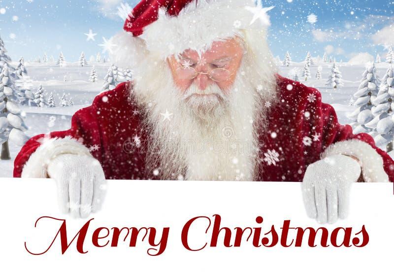 De Kerstman die neer vrolijk Kerstmisaanplakbiljet bekijken stock afbeeldingen