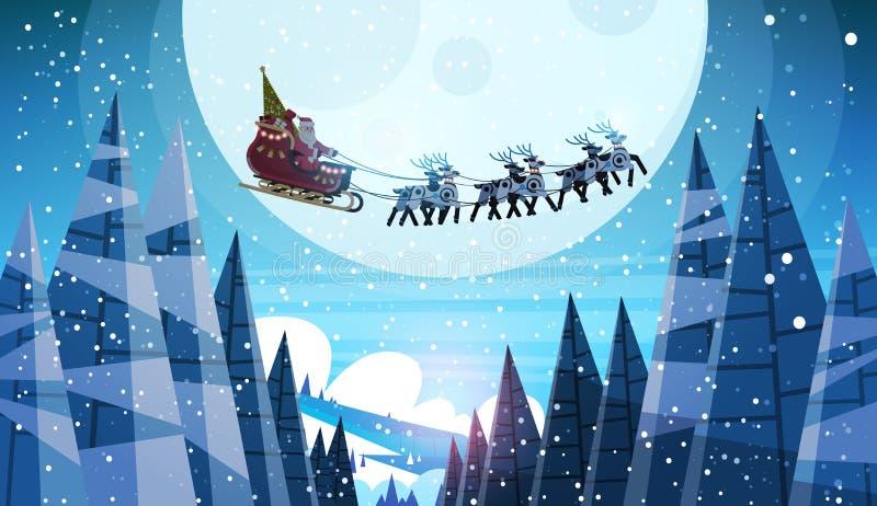 De Kerstman die in slee met de hemel van de rendierennacht over gelukkige nieuwe het jaar horizontale winter van maan de vrolijke vector illustratie