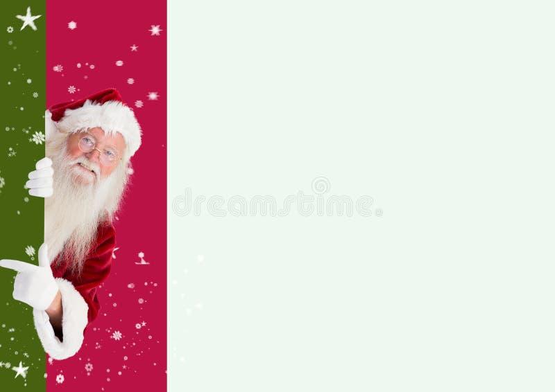 De Kerstman die tegen digitaal geproduceerde achtergrond gluren stock foto's