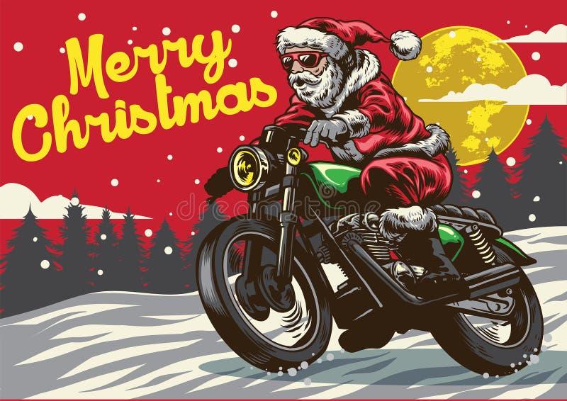 De Kerstman die uitstekende motorfiets berijden stock illustratie