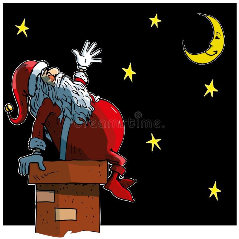 De Kerstman die van het beeldverhaal bij de maan loooking stock illustratie