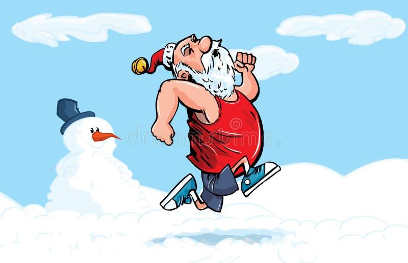 De Kerstman die van het beeldverhaal voor oefening in de sneeuw lopen royalty-vrije illustratie