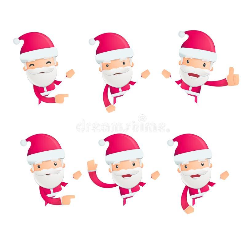 De kerstman in divers stelt stock illustratie