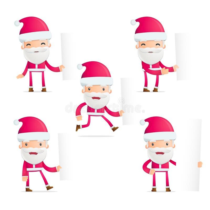 De kerstman in divers stelt royalty-vrije illustratie